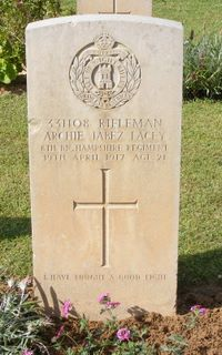 Archie Lacey's grave Gaza Cemetery
