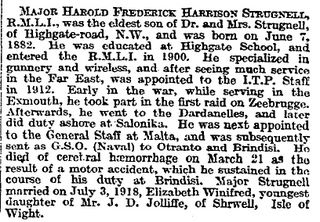Times report on H F H Strugnell