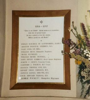 Whippingham St Mildred's Church Roll of Honour Great War